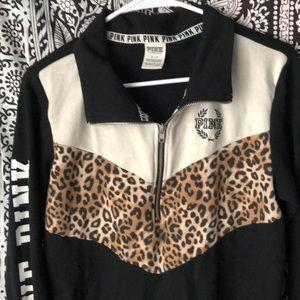 PINK Victoria's Secret Sweaters - Pink cheetah print Half zip up sweater